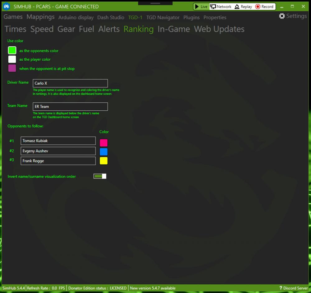 TGD-3 Sim Dashboard